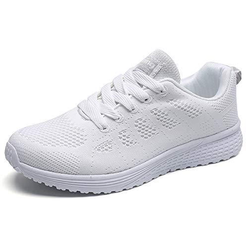 JIANKE Turnschuhe Damen Herren Leichte Laufschuhe Freizeitschuhe Atmungsaktive Sportschuhe Sneakers Weiß 37.5 EU(Etikettengröße 38)