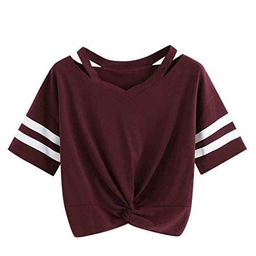 KIMODO T Shirt Damen Locker Einfarbig Sommer Kurzarm Bluse Lässig Top mit V-Ausschnitt Bogen-Knoten-Verband Oberteile Shirt Mode
