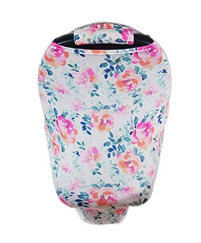 Nursing Cover, Car Seat Canopy, Shopping Cart, High Chair, Stroller and Carseat Covers for Boys and Girls- Best Stretchy Infinity Scarf and Shawl- Multi Use (Lavendar Floral)