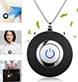 F'wode Portable Mini Air Purifier Wearable Air Purifier Necklace Negative Ion Generator USB Personal Air Freshener for Adults/Kids (Black)