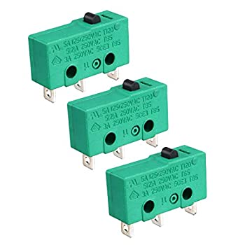 uxcell 3PCS KW4-3Z-3 Micro Limit Switch SPDT NO NC 3 Terminals Momentary Push Button Actuator Green