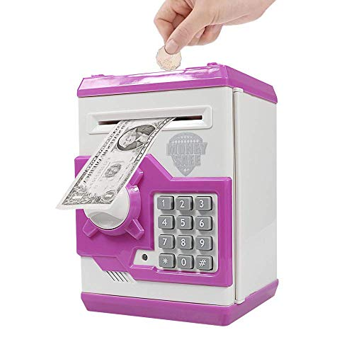 Totola Piggy Bank Electronic Mini ATM for Kids Baby Toy, Safe Coin Banks Money Saving Box Password Code Lock for Children,Boys Girls Best Gift(Pink)
