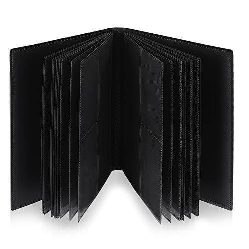 Lictin Raccoglitore Carte da Collezione di Giochi - Album Trasparente Impermeabile con 176 Tasche per Carte da Gioco, Card Binder con Guscio e Cinturino Neri, 22 Fogli, 4 Griglie per Pagina