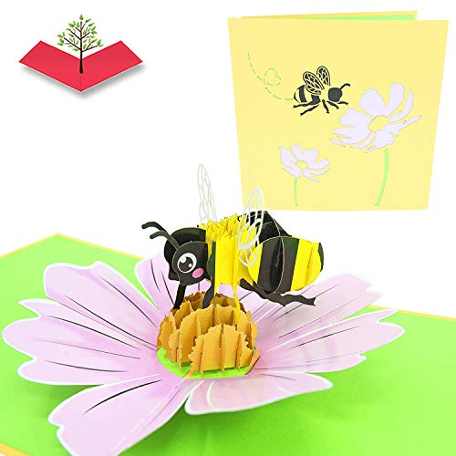 PopLife Bumble-bee 3D Pop Up Mothers Day Card for your HONEY! - Pop Up Happy Anniversary Card, Birthday Popup, Congratulations - Folds Flat - for Mom, for Wife, for Daughter, for Hubby, for Dad