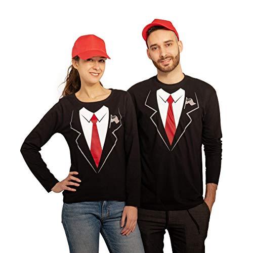 Karnevals & Faschings Paar Kostüm - Trump Anzug mit Langarm Shirts und Capis Mann Schwarz Small/Frau Schwarz Small