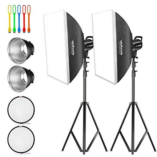 Godox 2 unidades SL-60W 120W CRI95 + blanco iluminación de salida continua de LED luz de vídeo Bowens Mount Kit para YouTube, grabación de vídeo, estudio, fotografía de niños, boda tiro con softbox, soporte de luz (110V)
