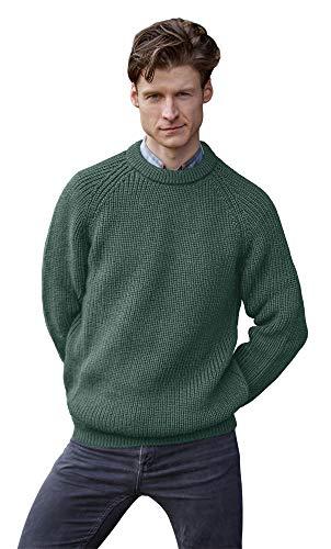 100% Pure Irish Wool Fishermans Rib Crew Neck Sweater(Large Moss)
