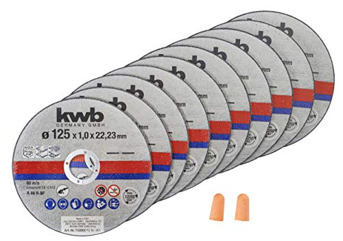 kwb 712022 Thin Cutting Discs for Angle Grinder 125 mm Flex Disc for Stainless Steel Inox in Storage Box Including Earplugs ABM 125 x 1.0 x 22.23
