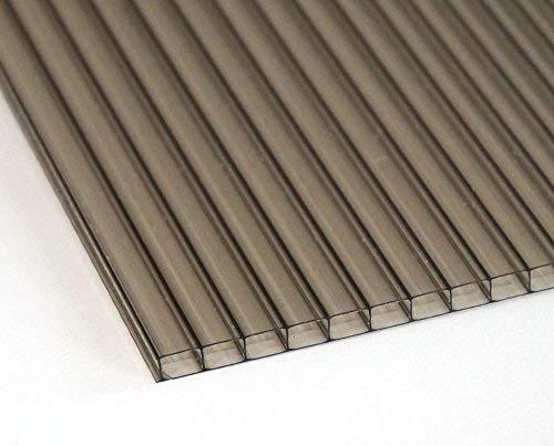 Polycarbonat Dachplatte Stegplatte Dick: 6mm Farbe: Bronze Breite: 860 mm, Hohe 1600 mm, 1 Stuck ! für Terrasse | Carport Gartenhaus