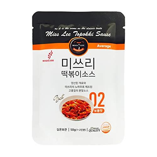MISSLEE Food TTEOKBOKKI Sauce Korean Foods toppogi Ddeokbokki Stir-Fried Rice Cake Sauce Level 2 Mild, Pack of 5