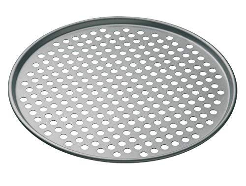 KitchenCraft Antihaft-Pizza-Backblech mit Löchern, edelstahl, grau, 32 x 32 x 1 cm