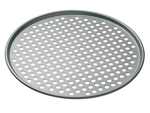 MasterClass 32 cm Perforated Pizza Tray with PFOA Free Non Stick, Robust 1 mm Thick Carbon Steel