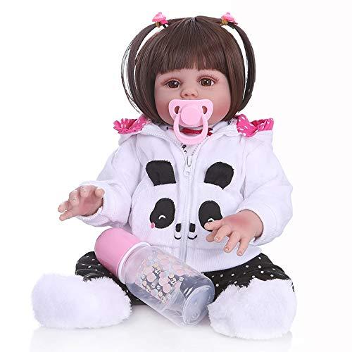 GYNFJK Glattes Haar 48CM Puppe wiedergeborenes Kleinkindpuppenmädchen im Pandakleid Ganzkörper weiches Silikon realistisches Flexibles Babybadespielzeug