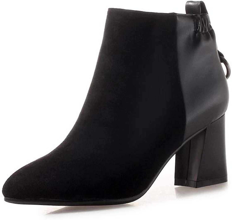 AdeeSu Womens Chunky Heels Metal Buckles Imitated Suede Boots SXC03876