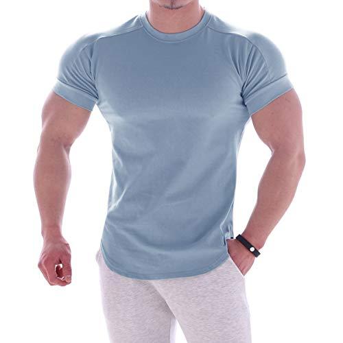 Camiseta masculina Magiftbox de algodão musculoso leve para treino, manga curta, academia, suor, T24, Sky-blue, X-Large