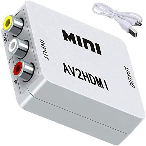 LPWCAWL Convertidor de AV a HDMI, 1080P 3RCA a HDMI, Adaptador de Audio y Video CVBS Compuesto con Cable De Carga USB, Adecuado para...