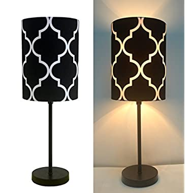 16  H Mini Living Room Indoor Table Lamp Metal Base (Black)