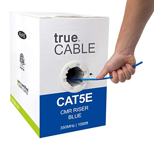 trueCABLE Cat5e Riser (CMR), 1000ft, Blue, 24AWG 4 Pair Solid Bare Copper, 350MHz, ETL Listed, Unshielded Twisted Pair (UTP), Bulk Ethernet Cable
