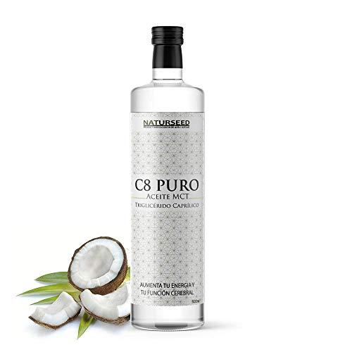 NATURSEED C8 MCT aceite puro - Botella de cristal - 100% C8 - Extraído Sólo de Nuestro Aceite de Coco Ecologico - No aceite de Palma - No C10 ni C12 - Dieta Keto, Paleo y Vegana - Ebook (500ML)