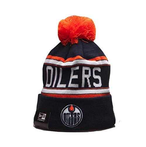 Yajun NHL Edmonton Oilers Strickmütze Winter Beanie Cap Wraparound Multicolor Persönlichkeit Warme Hüte,A
