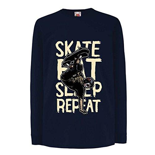Camisetas de Manga Larga para Niño Eat-Sleep-Skate-Repeat para el Amante del monopatín, Regalos del Skater, Ropa Que anda en monopatín