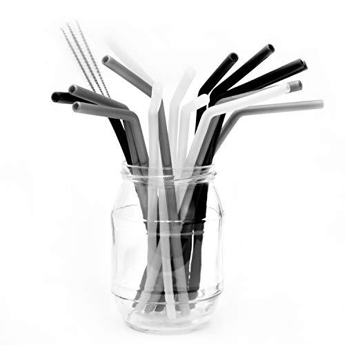 Belmalia 15x Cannucce in Silicone con 3 Scovolini, Riutilizzabile, Alternativa alla Plastica: Argento Nero Trasparente