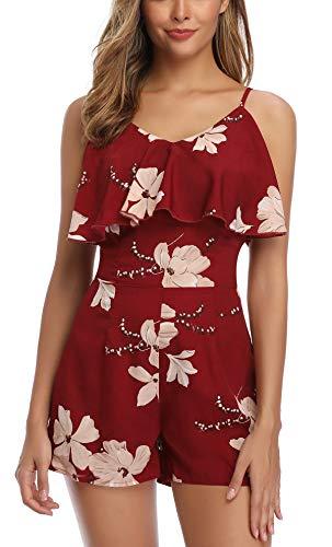 MISS MOLY Jumpsuit Damen Sommer Kurz Overall Elegant Playsuits Blumenmuster Einteiler Romper Rot Small