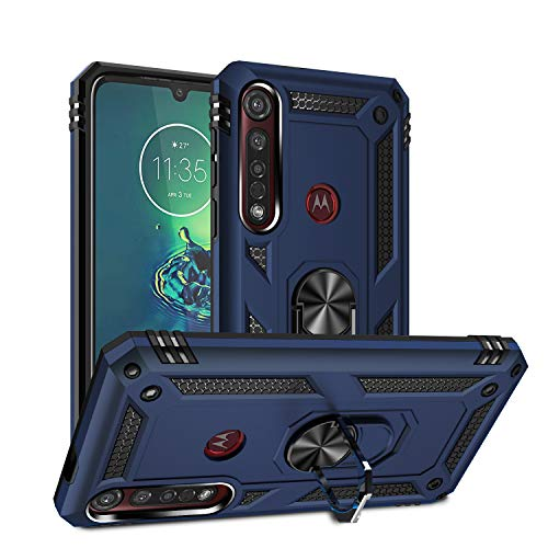 Moto G8 Play Case,Moto G8 Plus Case,Motorola One Macro Case Cover,Tough Heavy Protective 360 Metal Rotating Ring Kickstand Holder Grip Built-in...