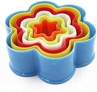 طقم قطاعة الكعك والبسكويت والساندوتشات 6 قطع على شكل ازهار بالوان واحجام مختلفة