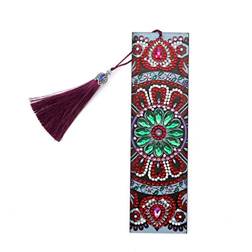 Folewr-8 segnalibro con mandala fiore fai da te 5D pittura diamante ricamo segnalibro 21 x 6 cm