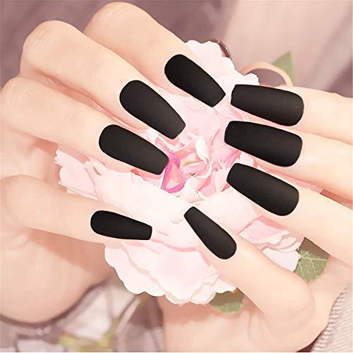 BloomingBoom 24 unidades de uñas postizas de bailarina, uñas postizas largas, cobertura completa, ya teñidas, uñas postizas para prediseño, prensadas en café, muy largas, color negro