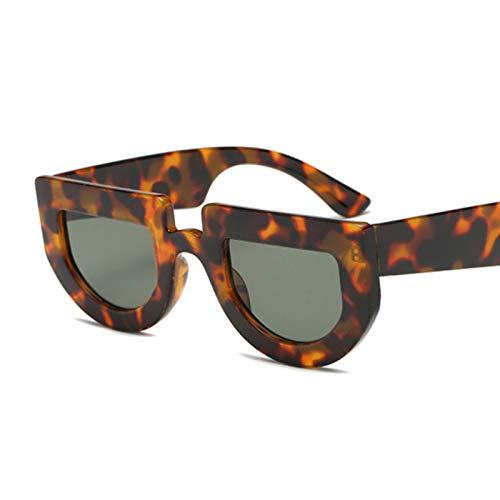 QYV Gafas de Sol pequeñas para Mujer Gafas de Sol Gafas de Sol ovaladas para Dama con Parte Superior Plana,Dark Green