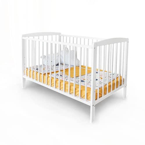 """Mitwachsendes Babybett 120x60 cm\""""Emmi\"""" zum Kinderbett umbaubar KIEFER mit Schlupfsprossen ohne Schublade in weiß"""