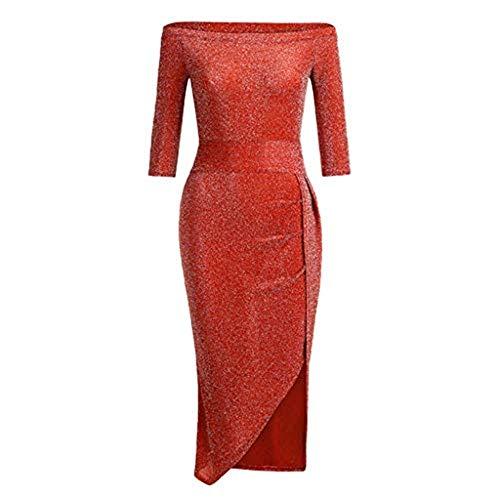 Vectry Vestido De Fiesta Lentejuelas Vestidos para Comunion Mujer Vestidos Largos Lentejuelas Vestidos Casual De Mujer Vestidos Elegantes Vestidos De Coctel(Rojo1,M)