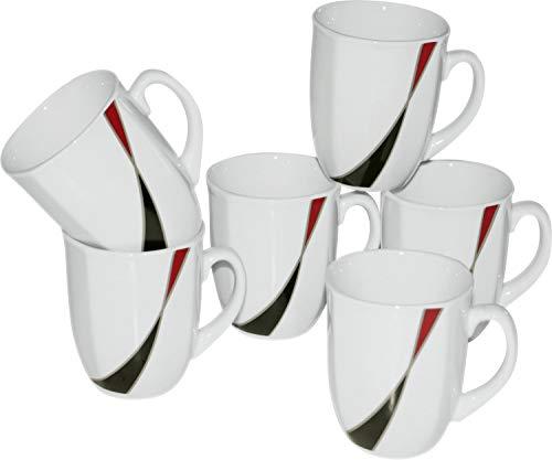 Gepolana Kaffeebecher 6er-Pack Porzellan dunkelrot