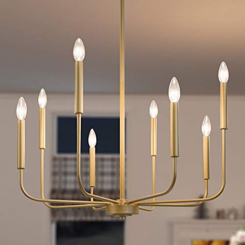 GEPOW Gold Modern Chandelier, 8-Light Candle Light Fixture for Dining Room, Bedroom, Kitchen, Living...