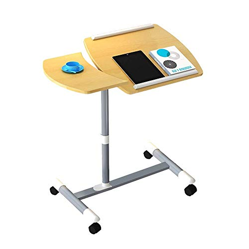 FACAZ side table Laptop Desk With Mouse Board, Adjustable Laptop Stand, Sit-Stand Desk Cart With Wheels, Solid And Superior Stability