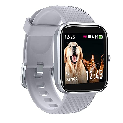 Smart Watch, VT3 Fitness Tracker with Heart Rate Monitor Blood Oxygen Meter Sleep Tracking Step Counter, IP68 Waterproof Pedometer Smartwatch for Men Women, for iPhone Samsung Android Phones (Silver)
