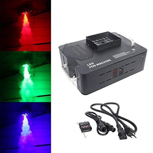 Tengchang 1500W Halloween Smoke Fog Machine Vertical Spray Up/Down Fogger DMX 24 LED w/Wireless Remote RGB