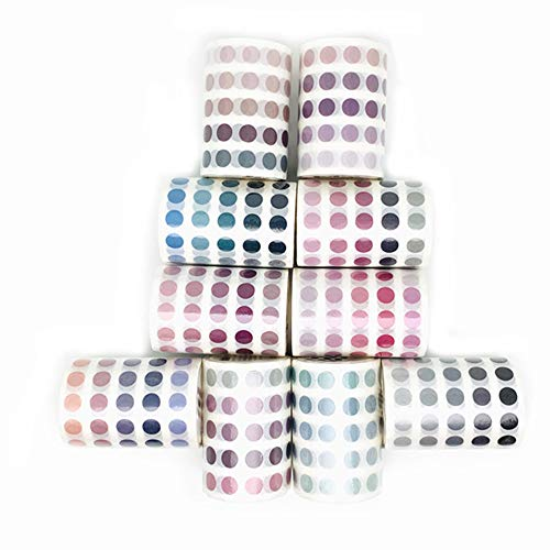 Colorful Dots Washi Tape Round Stickers Dot Stickers for DIY Decorative Diary Planner Scrapbooking Photo Ablums,Multicolor Set