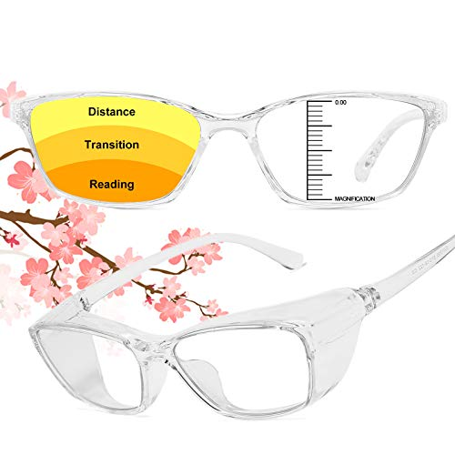 Progressive Safety Glasses with Readers 1.5 2.0 for women Men Safety Blue Light Bifocal Reading Glasses Goggles Eye Protection White 1.5