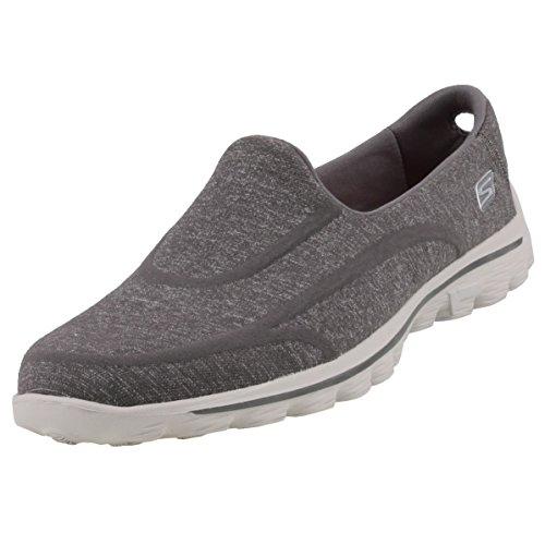 Skechers GO Walk 2Super Sock Damen Walkingschuhe, Grau (CHAR), 37 EU