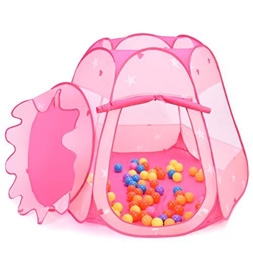 COSTWAY Kinderprinses speeltent, zeszijdige tent, speelhuisje voor peuters met opbergtas met ritssluiting en 100 oceaanballen (roze)