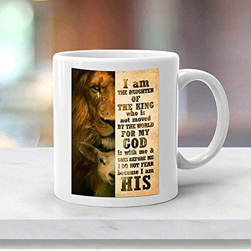 N\A Taza de café inspiradora Idea de Regalo Hermoso león y Ciervo Soy Hija del Rey Que no se Mueve por el Mundo Taza de café única de 11 oz Taza Blanca