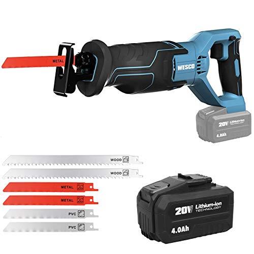 WESCO 20V Cordless Reciprocating Saw, 4.0Ah Li-ion Battery, 0-3000SPM Variable Speed, 3/4