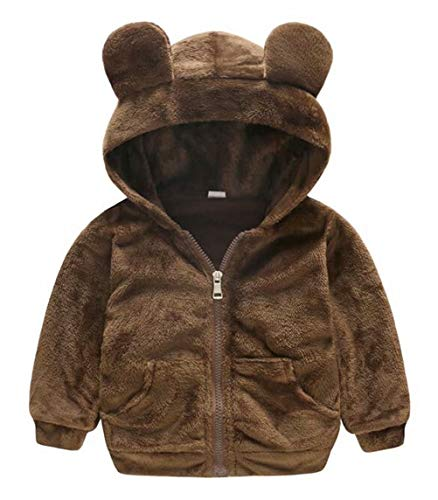 LOTUCY Baby Boys Girls Faux Fur Fleece Hoodie Winter Warm Coat Jacket Cute Bear Thick Clothes Size 2-3T/Tag80 (Brown)