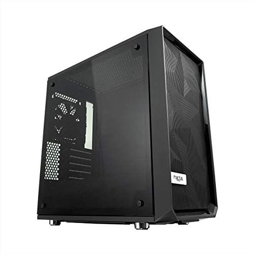 Fractal Design Meshify C Mini Blackout TG Dark Tint, PC Gehäuse (Micro-ATX Tower mit Seitenteil aus gehärtetem Glas) Case Modding für (High End) Gaming PC, schwarz