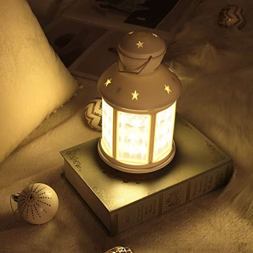 MoKo Linterna Decorativa, Linterna LED de Estilo Vintage con Luz en Forma de Estrella para Decoración de Boda, Dormitorio, Hogar, Salón, Fiesta de Halloween de Navidad - Linterna Blanca, Luz Cálida