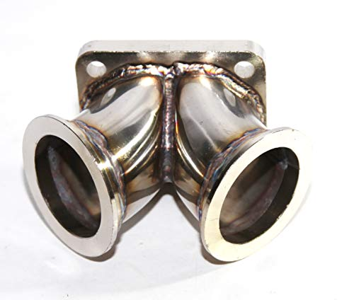 Dual 2.5' V-band Flange to T4 Twin Scroll Divided Inlet Turbo Elbow SS Adapter