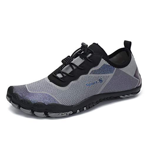 Dannto Hombre Mujer Zapatos de Agua para Hombre Surf Escarpines Playa Natación Respirable Antideslizante Playa Natación Aire Libre Zapatos de Agua para Vela,Kayak,Buceo(Gris-C,39)